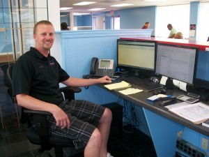 Out-of-State Manager Bob Harris at his new work station.