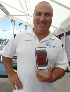 OffLeaseOnly Sales Associate Robert Palermo shows off  the App he uses to track his steps.