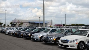 OffLeaseOnly quality used cars line the car lot at OffLeaseOnly Miami.