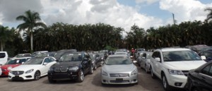 Used cars for sale are lined up in rows at the OffLeaseOnly Value Lot, at 1575 S. Military Trail.