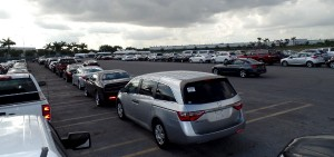 OffLeaseOnly used cars await processing in the huge 7-acre OffLeaseOnly lot near Opa Locka Airport.