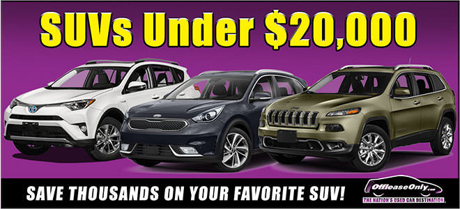 Off Lease Only SUVs Under $20,000